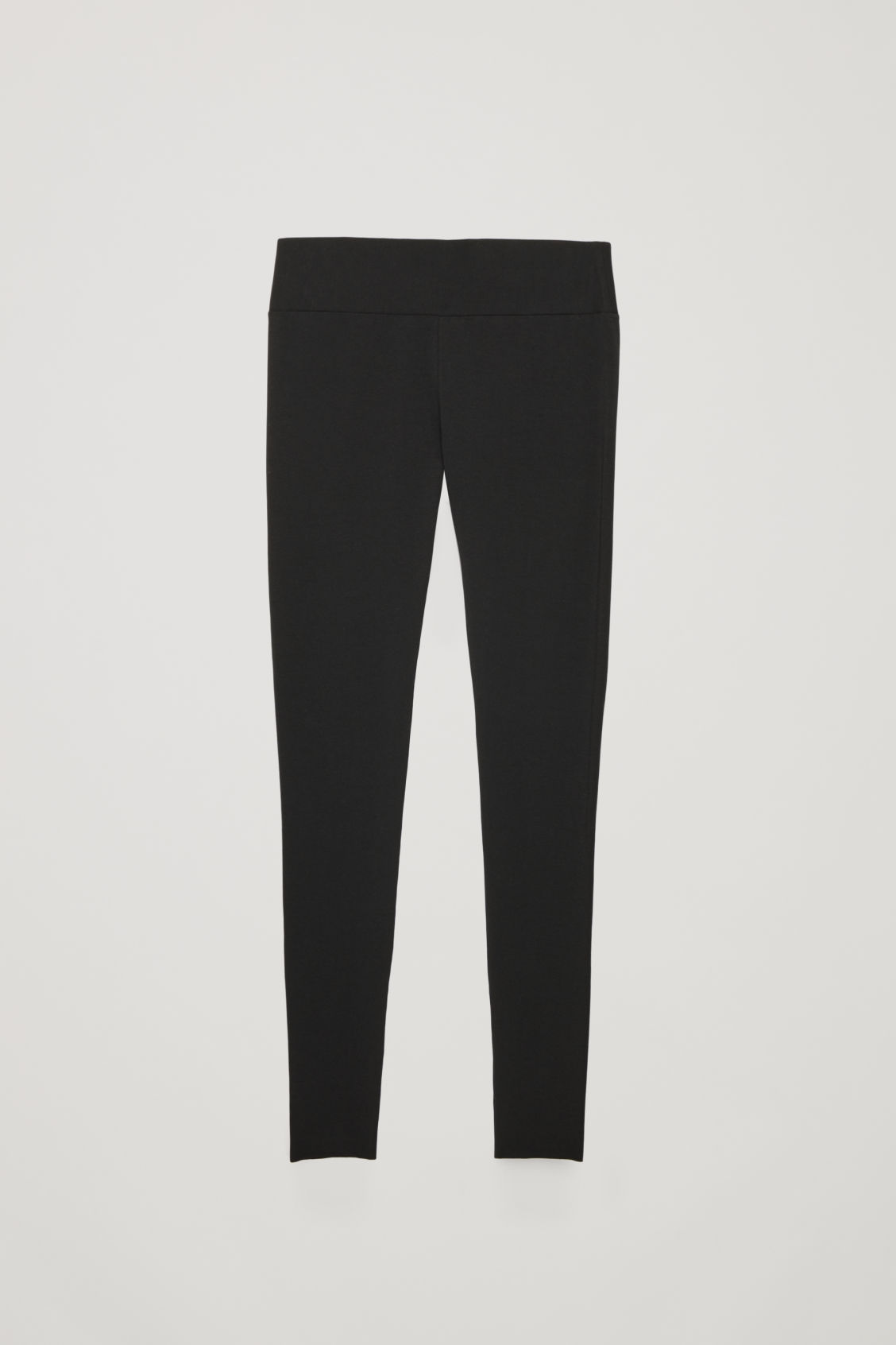 Front image of Cos slim jersey leggings in black