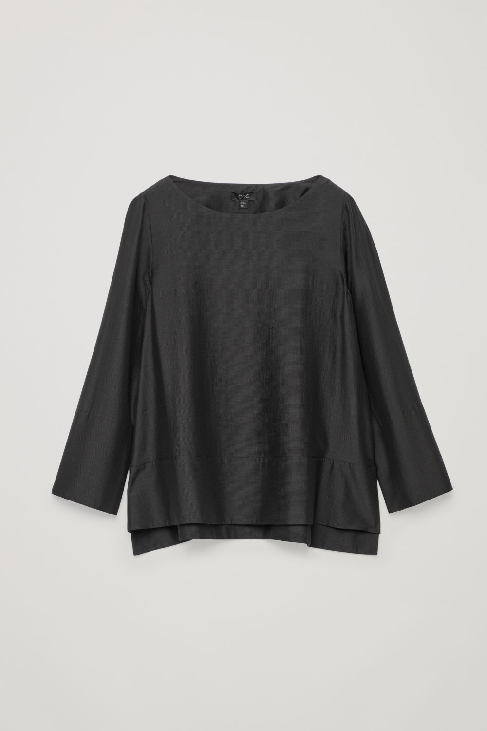 PANELLED SILK-BLEND A-LINE TOP