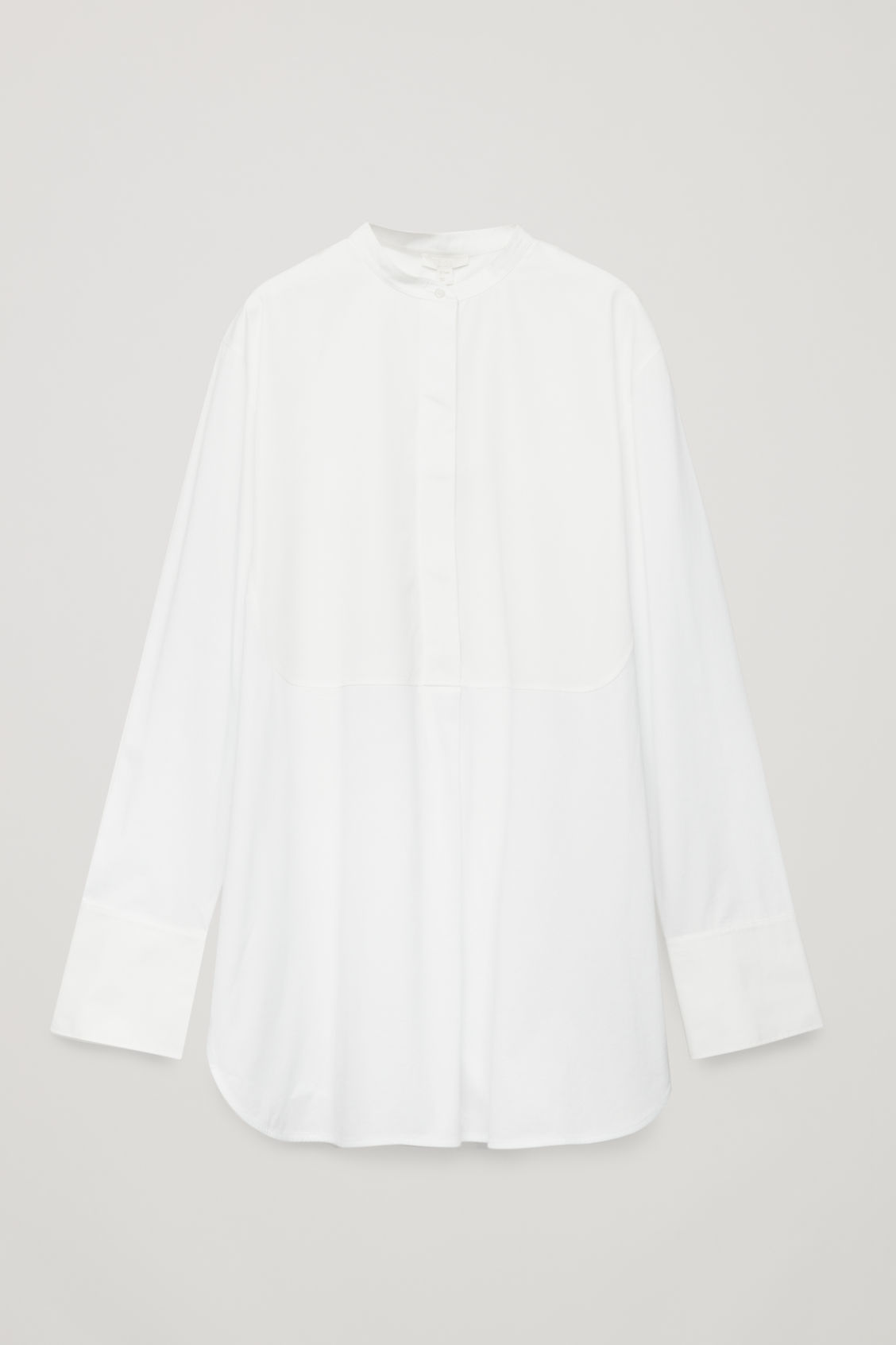 Front image of Cos long woven-jersey mix shirt in white