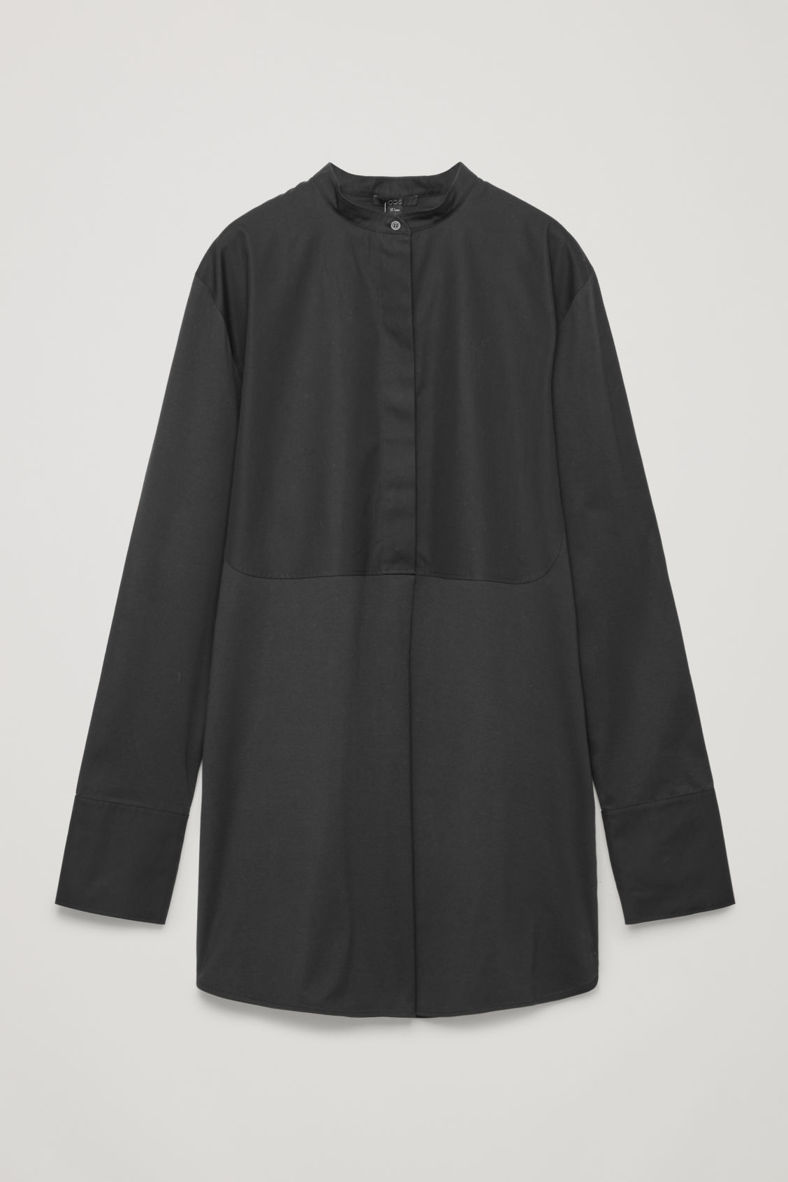 Front image of Cos long woven-jersey mix shirt in black