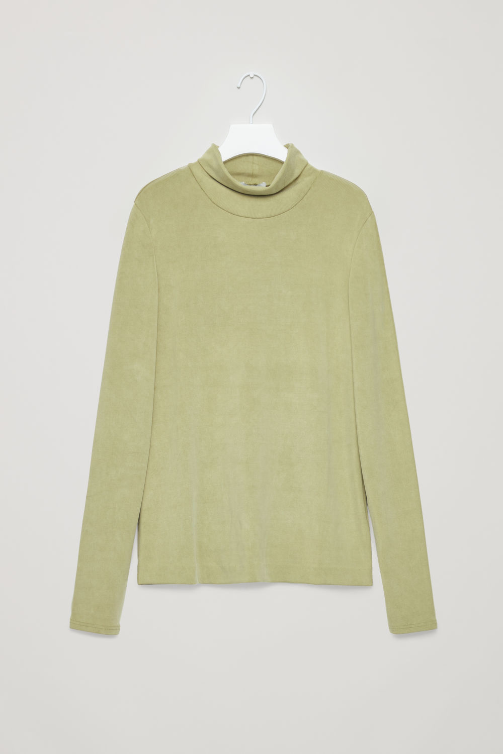 Front image of Cos cupro roll-neck top in green
