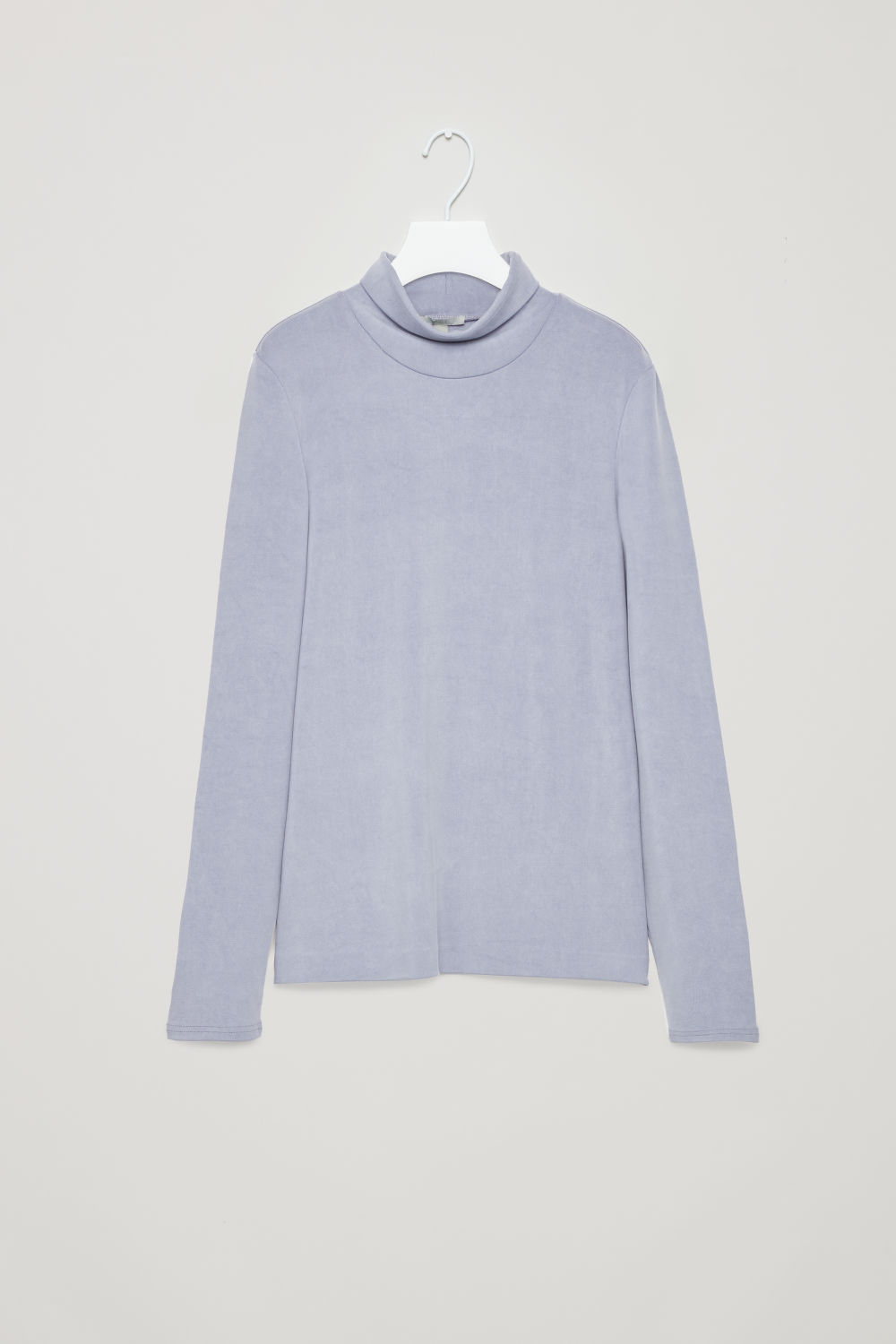 Front image of Cos cupro roll-neck top in purple