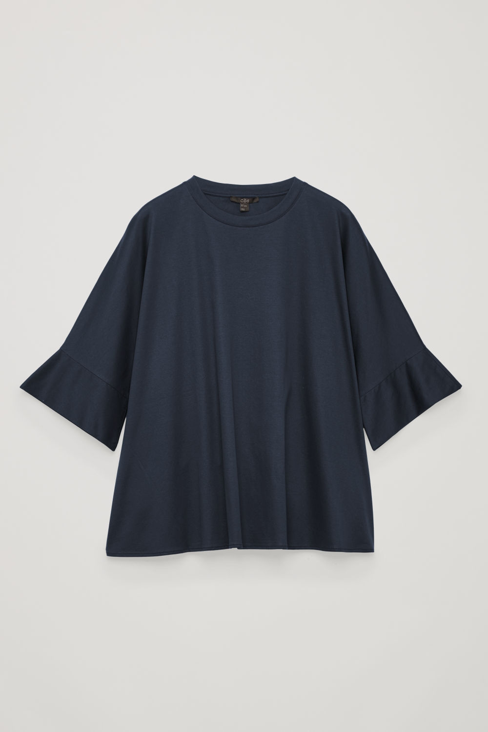 Front image of Cos kimono-sleeved a-line top in blue