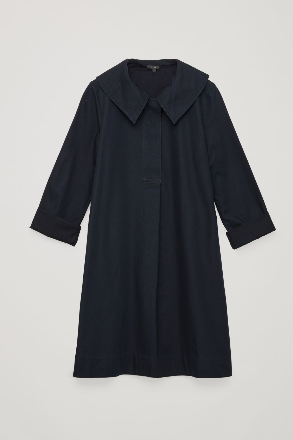 Front image of Cos oversized-collar cotton dress in blue