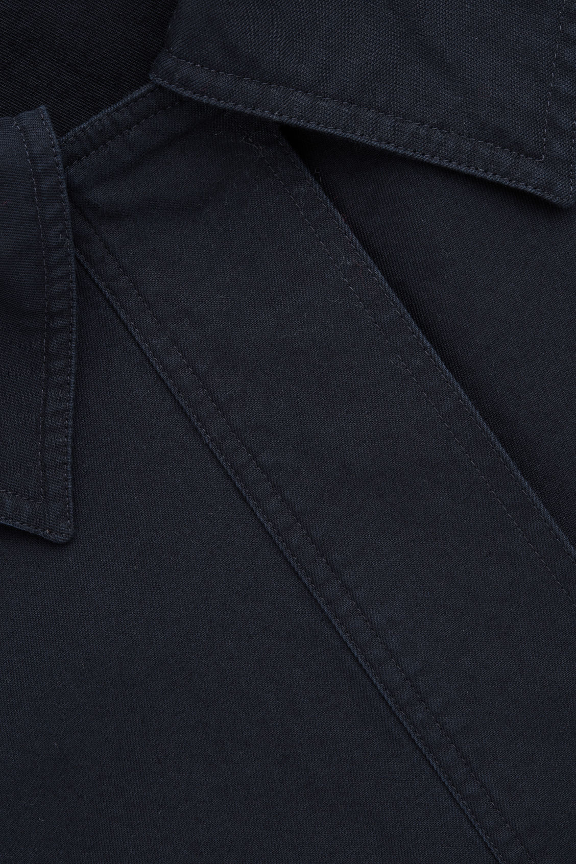 Side image of Cos oversized-collar cotton dress in blue