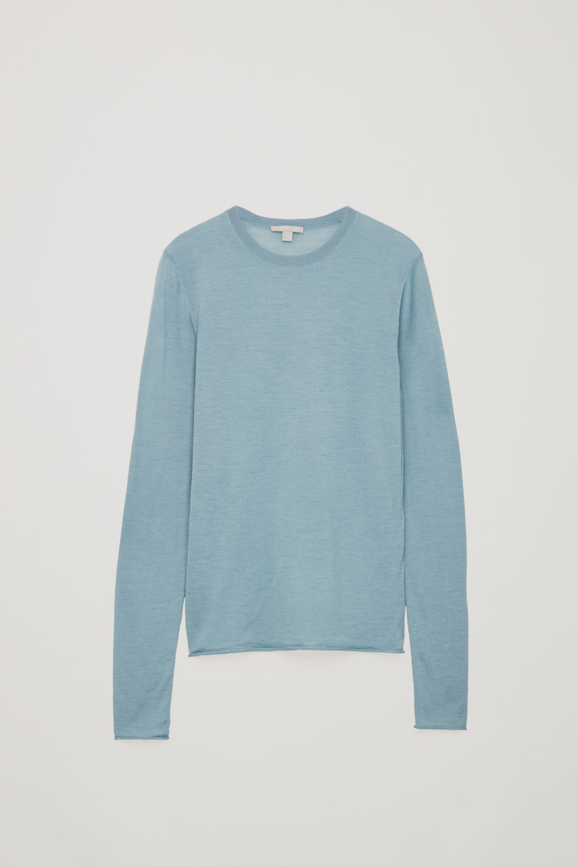 Front image of Cos merino round-neck jumper in turquoise