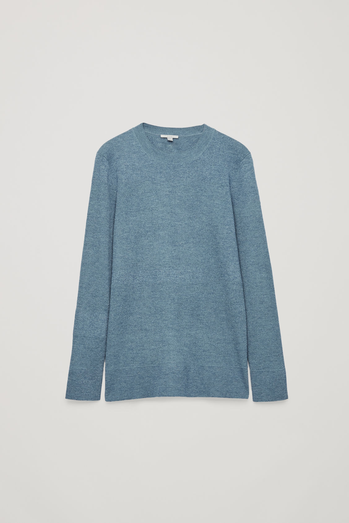 Front image of Cos mix-rib jumper in blue