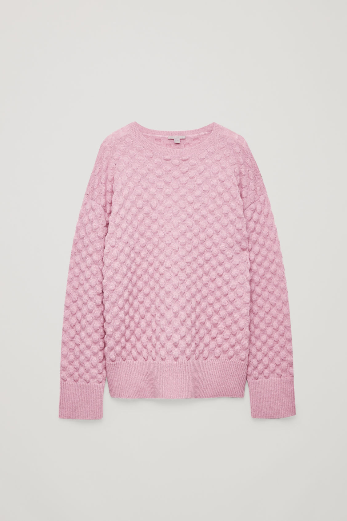Front image of Cos bobble stitch jumper in pink