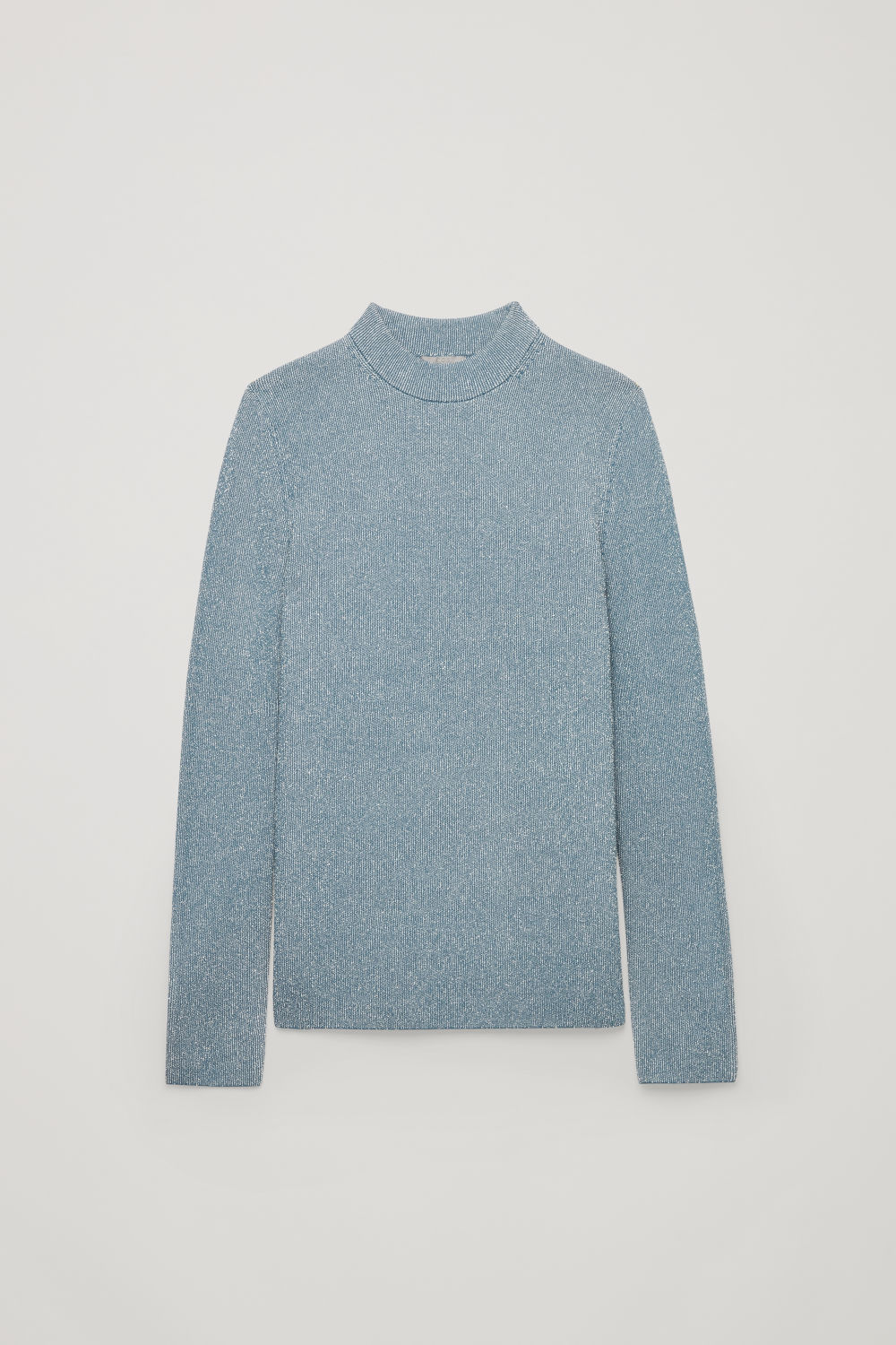 Front image of Cos drop-needle stitch knit jumper in blue