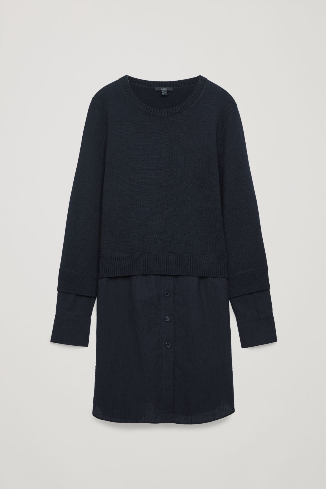 Front image of Cos shirt-layered wool knit tunic in blue