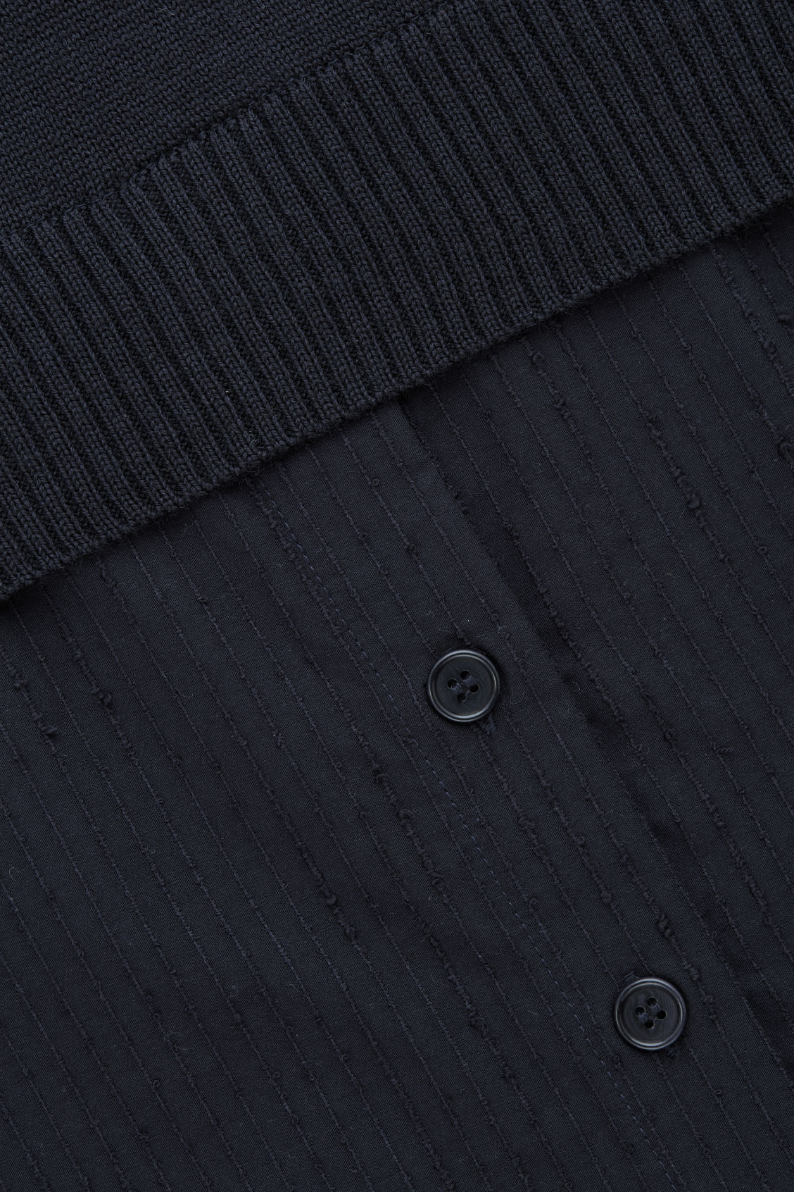 Side image of Cos shirt-layered wool knit tunic in blue