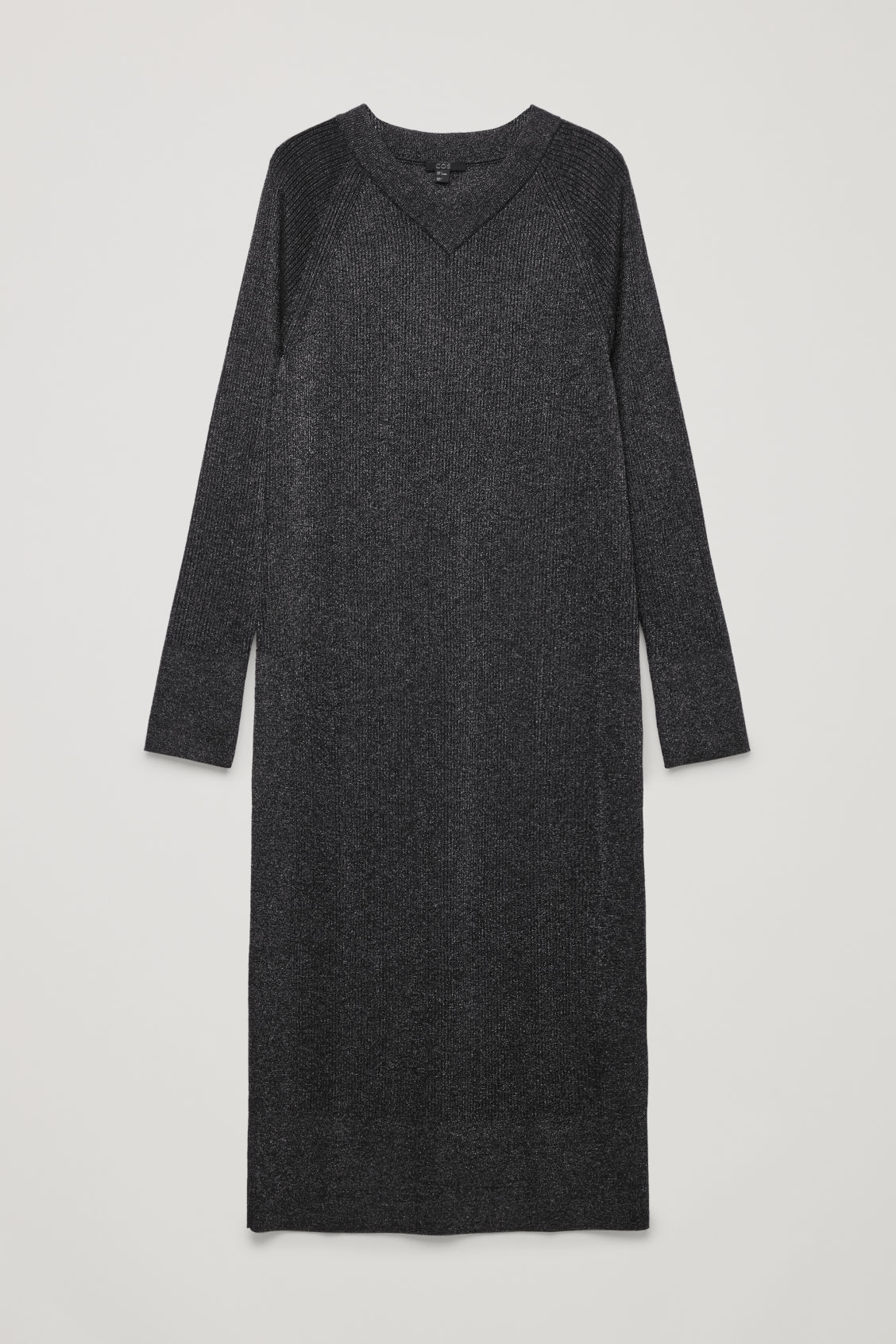 Front image of Cos mix-rib knitted dress in blue