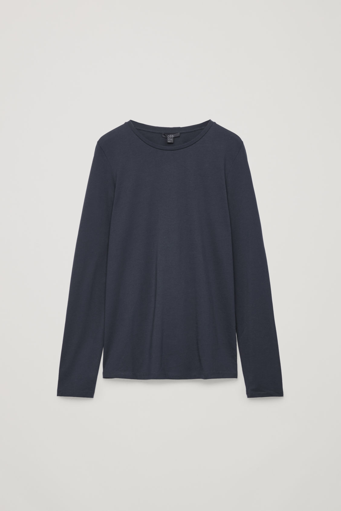 Front image of Cos long-sleeved cotton top in blue
