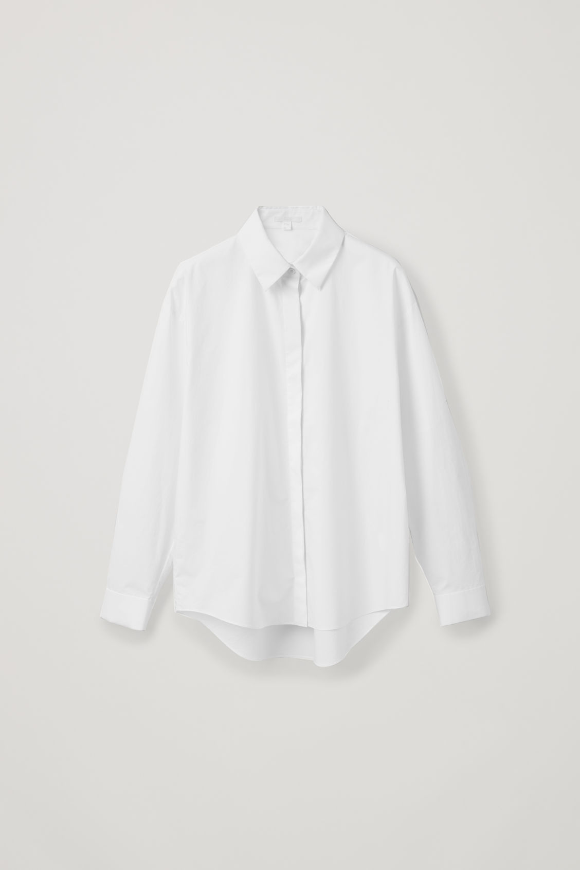 Front image of Cos oversized cotton-poplin shirt in white