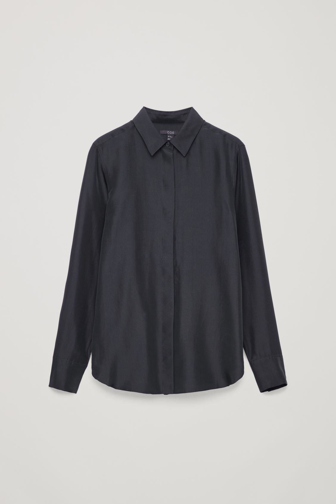 Front image of Cos silk shirt in blue
