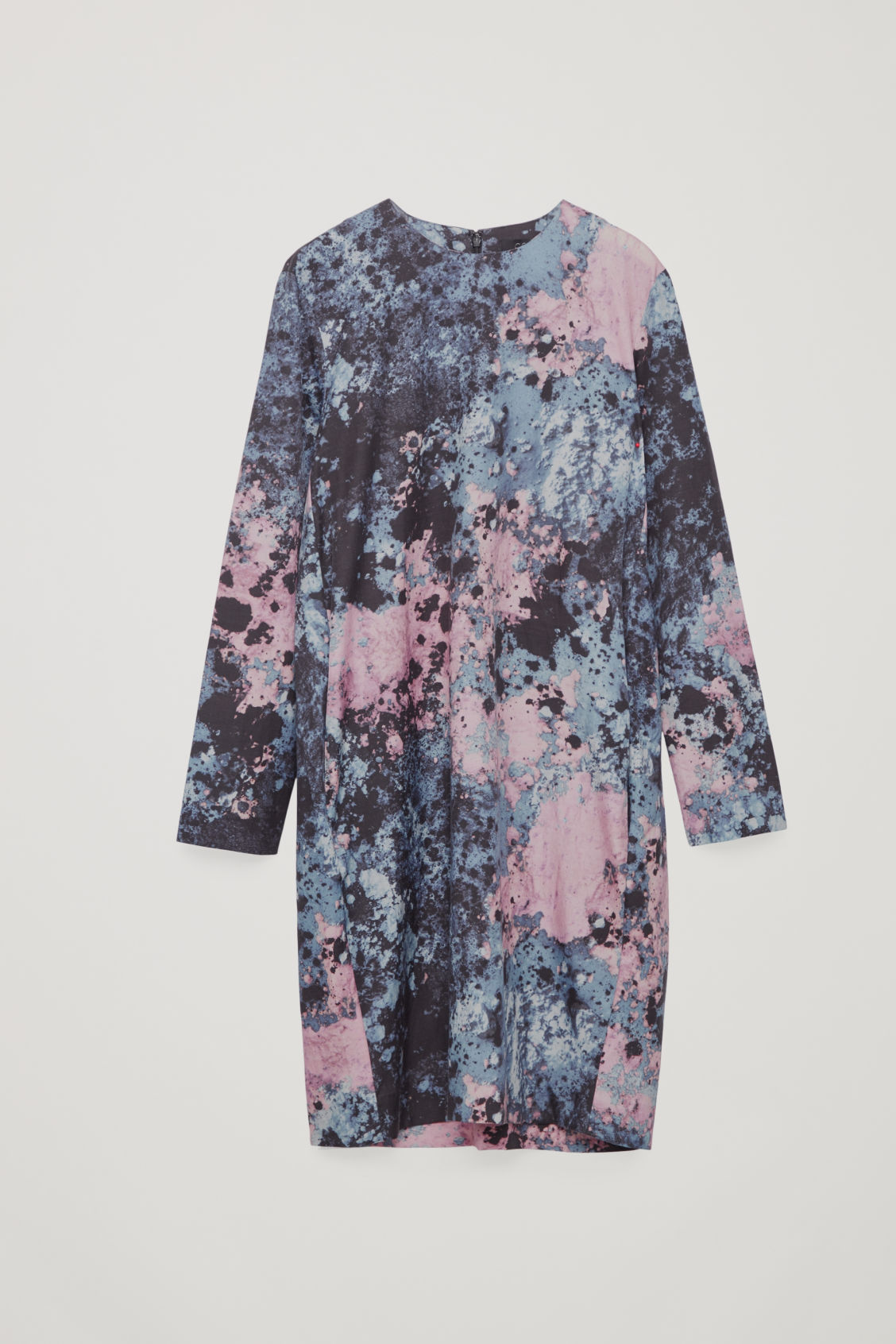 Front image of Cos printed cocoon-shaped dress in purple