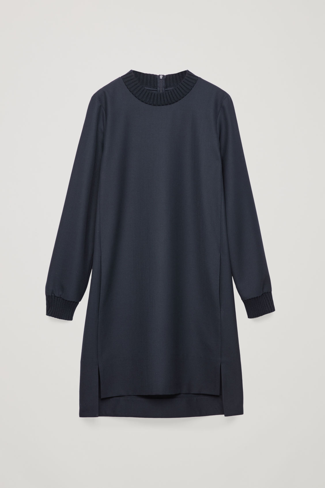 Front image of Cos dress with knitted trims  in blue
