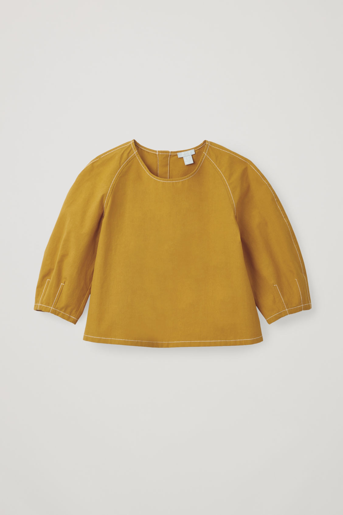 Front image of Cos contrast-stitch cotton top in yellow