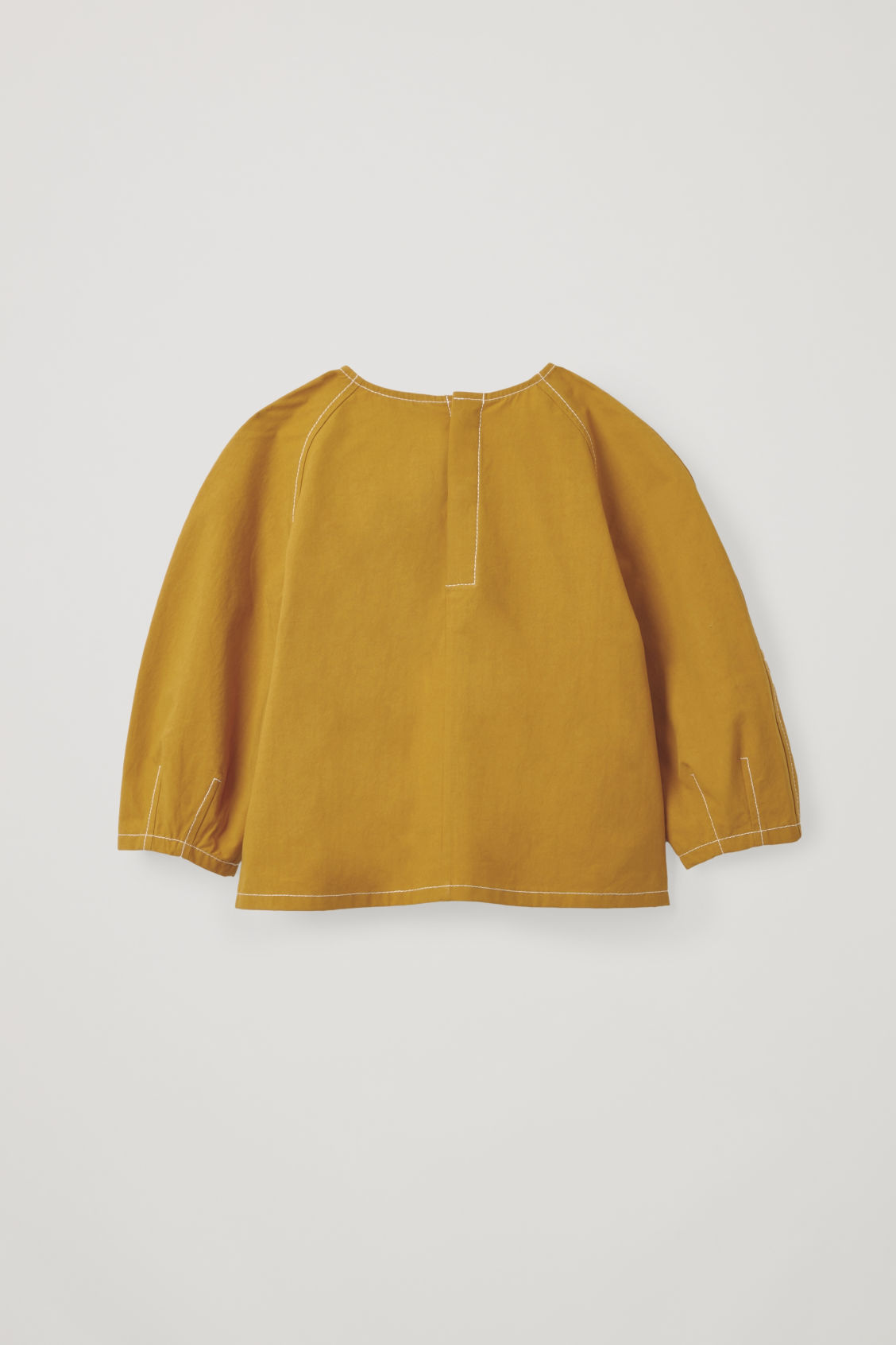 Side image of Cos contrast-stitch cotton top in yellow
