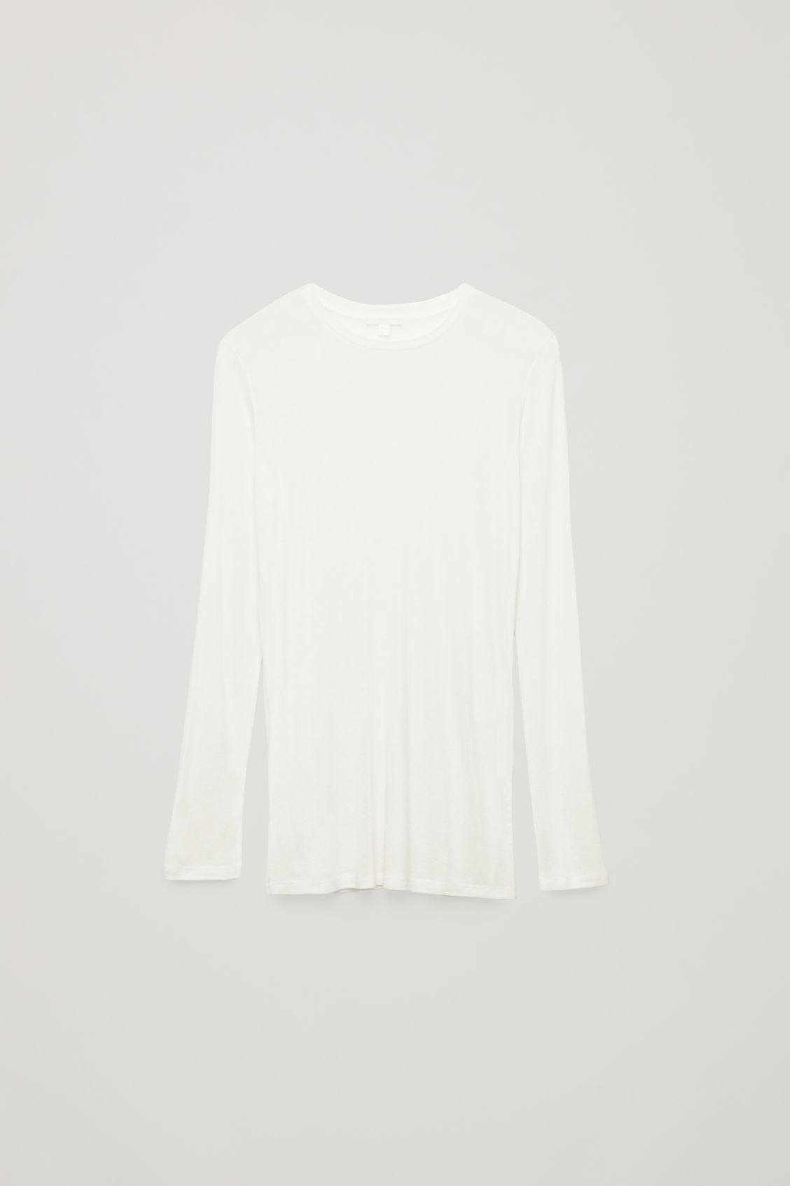 Front image of Cos round-neck jersey top in white