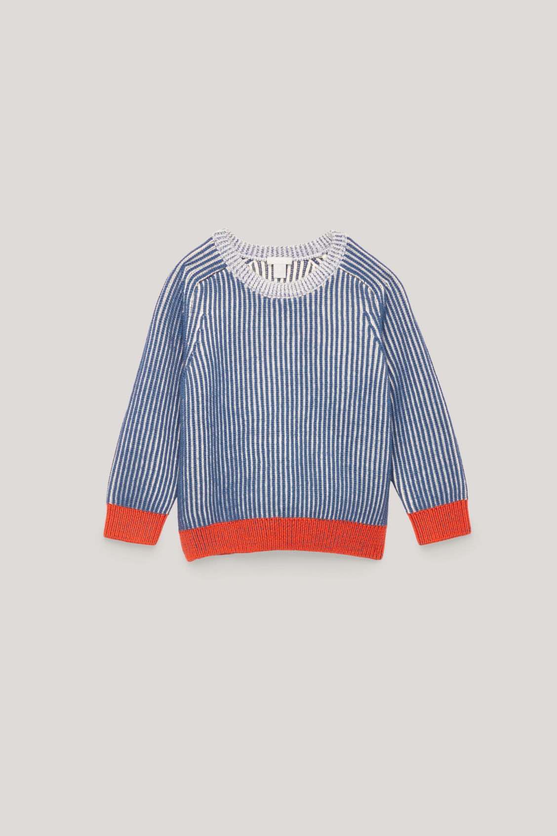 Front image of Cos half-cardigian stitch jumper in blue