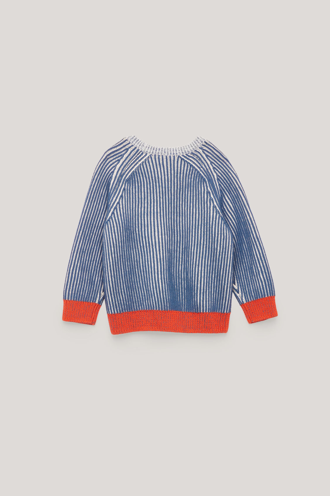 Side image of Cos half-cardigian stitch jumper in blue