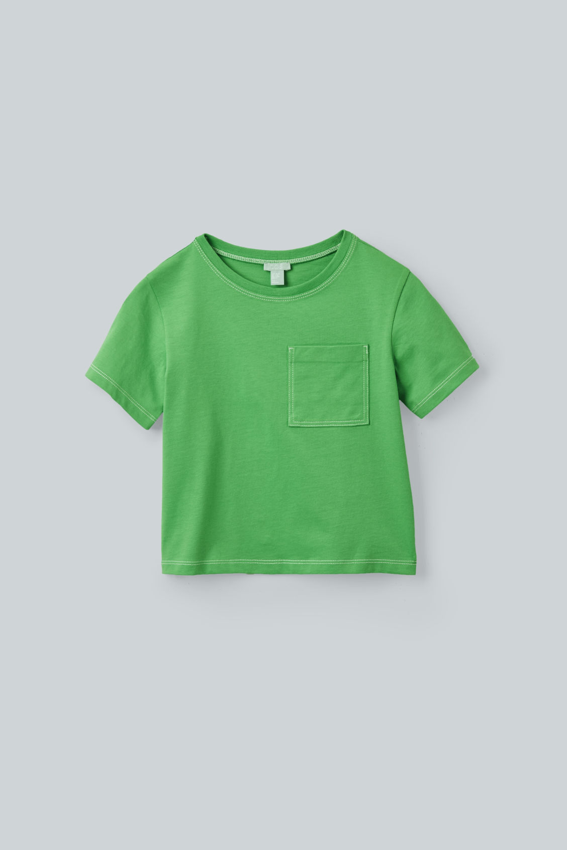 Front image of Cos topstitched organic-cotton t-shirt in green