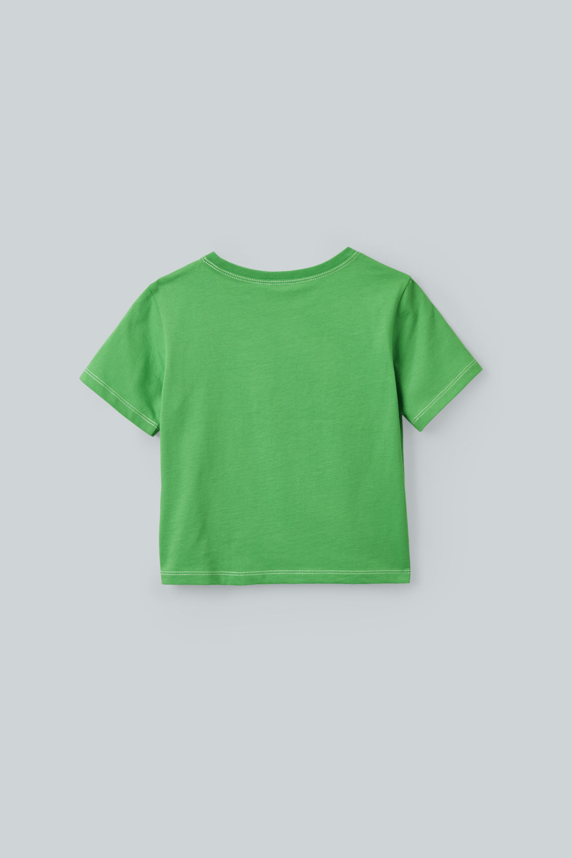 Side image of Cos topstitched organic-cotton t-shirt in green
