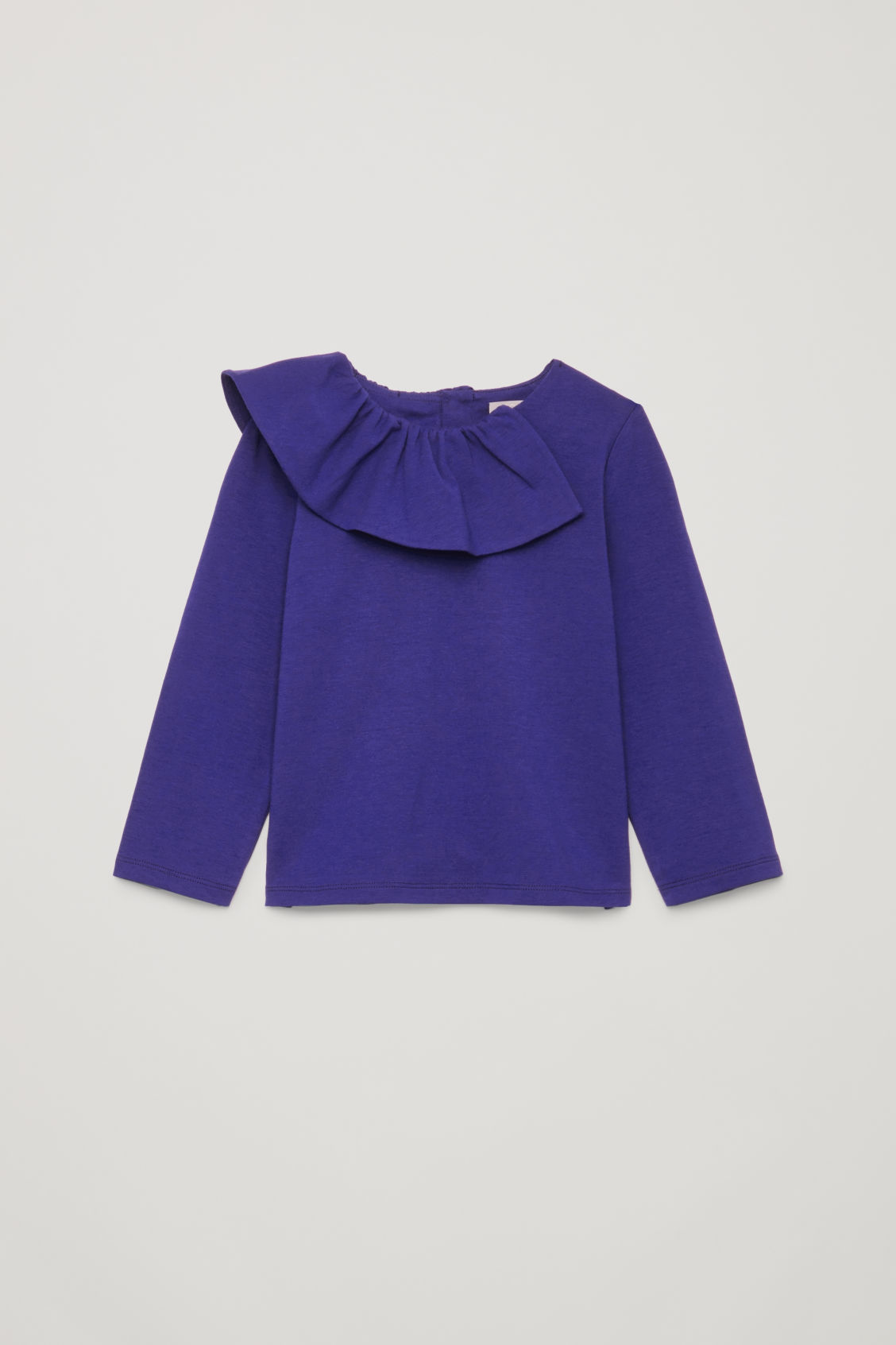 Front image of Cos pleated-neck cotton top in blue