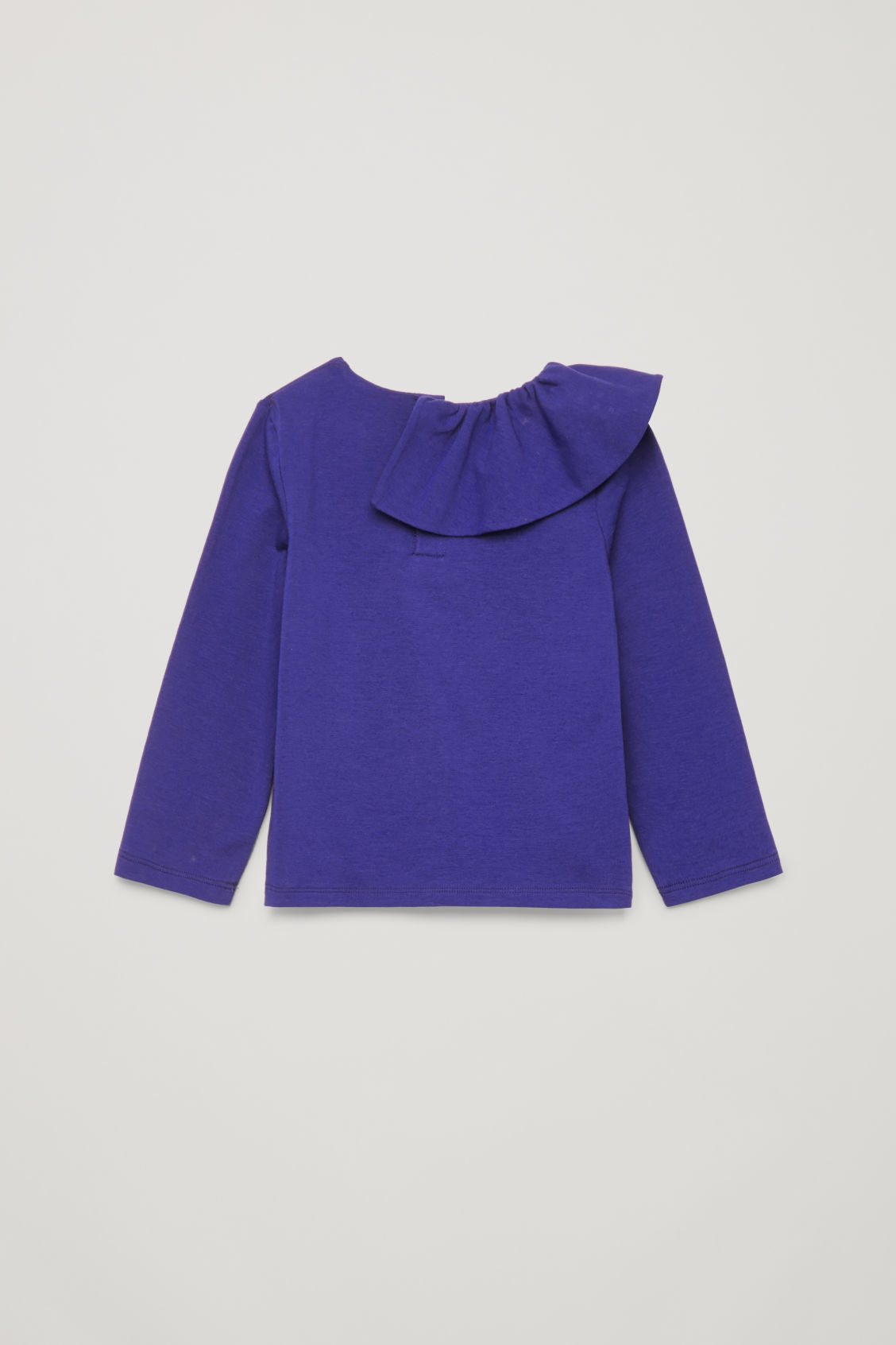 Side image of Cos pleated-neck cotton top in blue