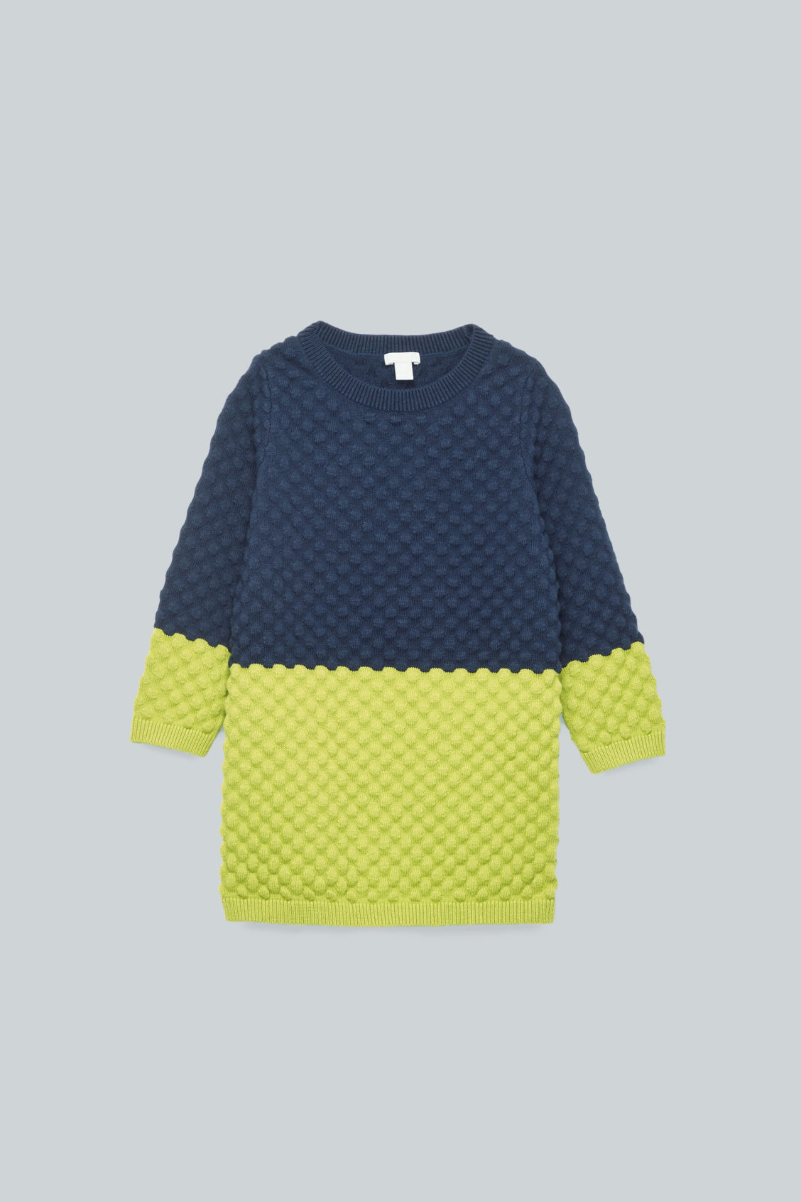 Front image of Cos bobble-stitched knit dress in blue
