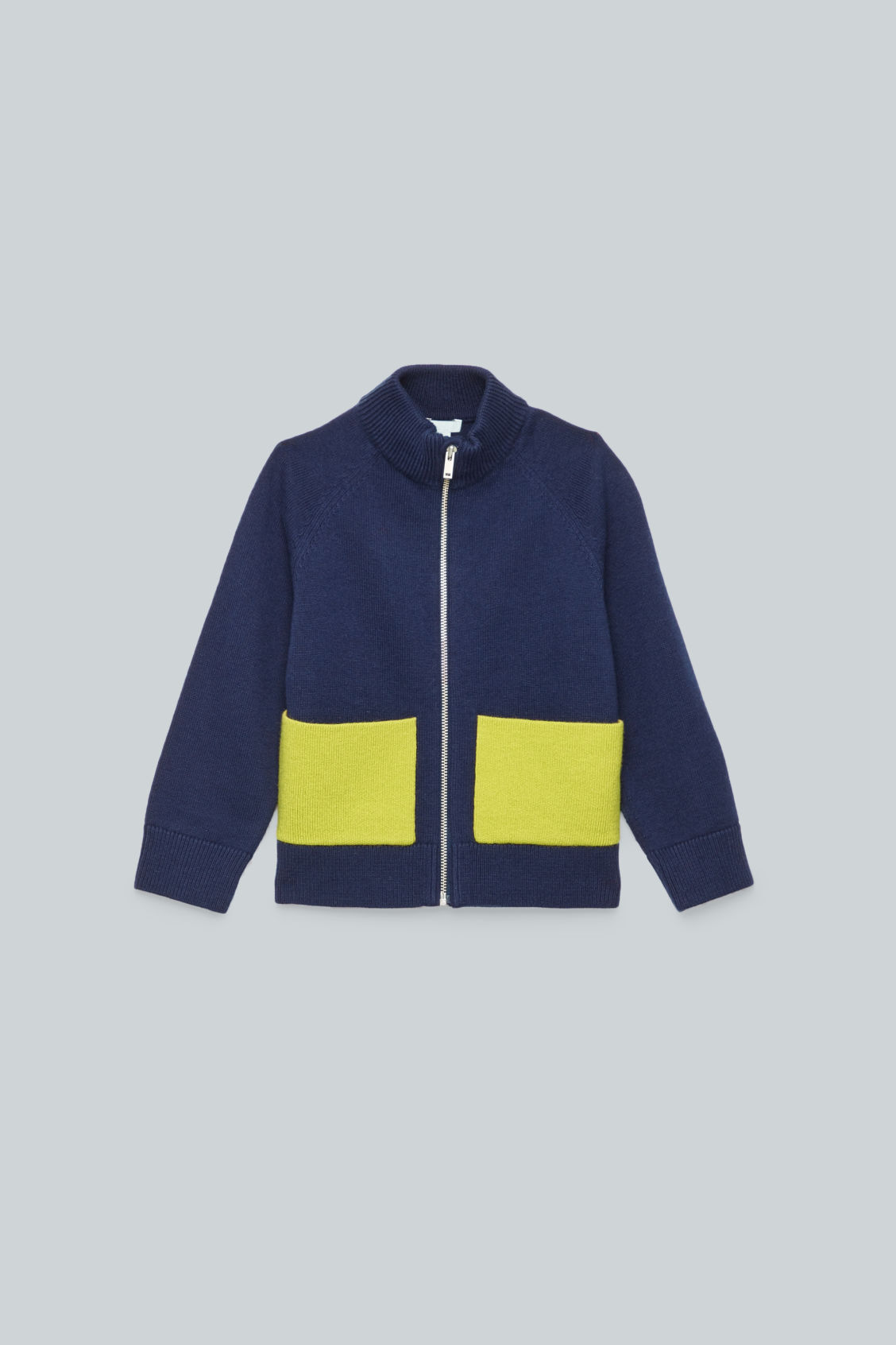 Front image of Cos patch pocket zip-up cardigan in blue