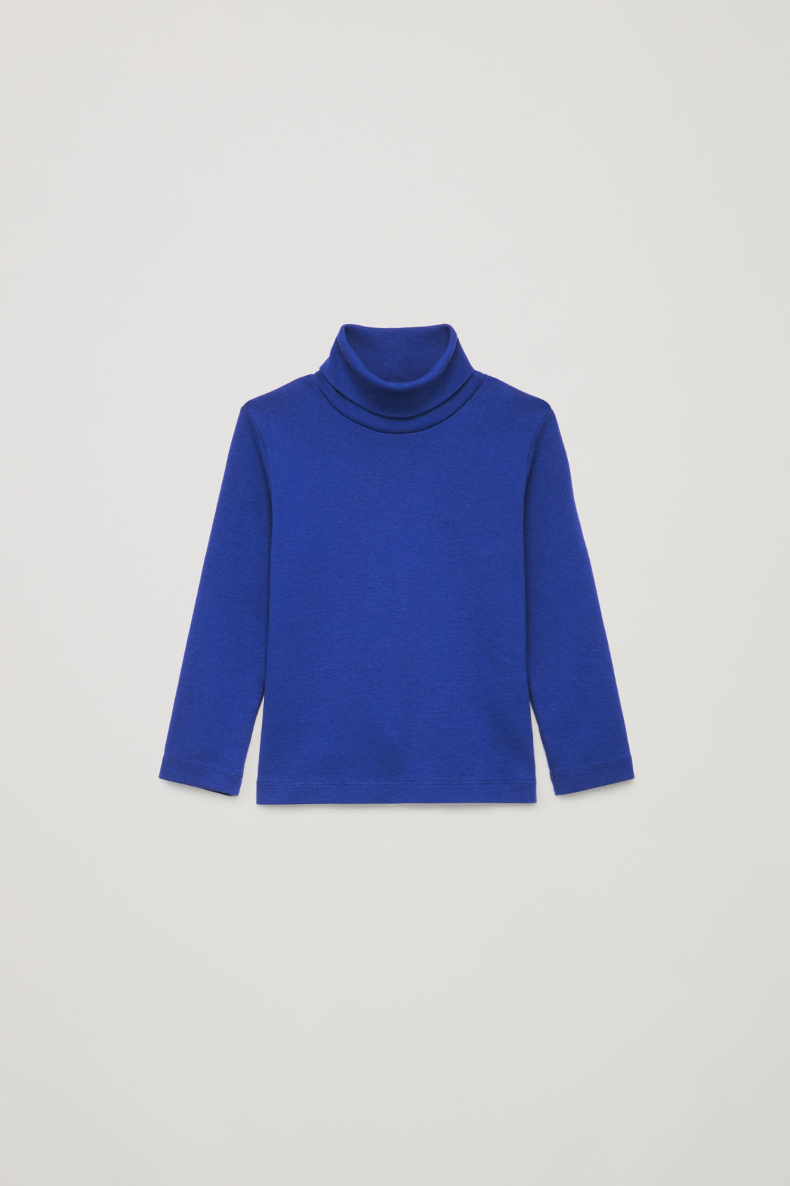 Front image of Cos jersey roll-neck top in blue