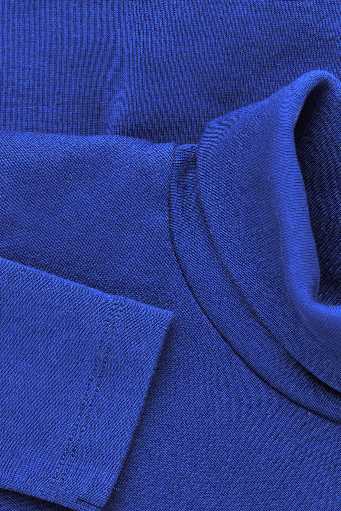 Side image of Cos jersey roll-neck top in blue