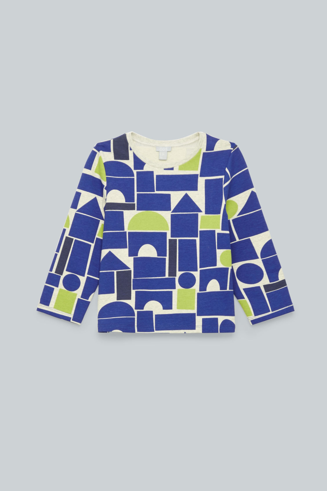 Front image of Cos geometric-printed jersey top in blue