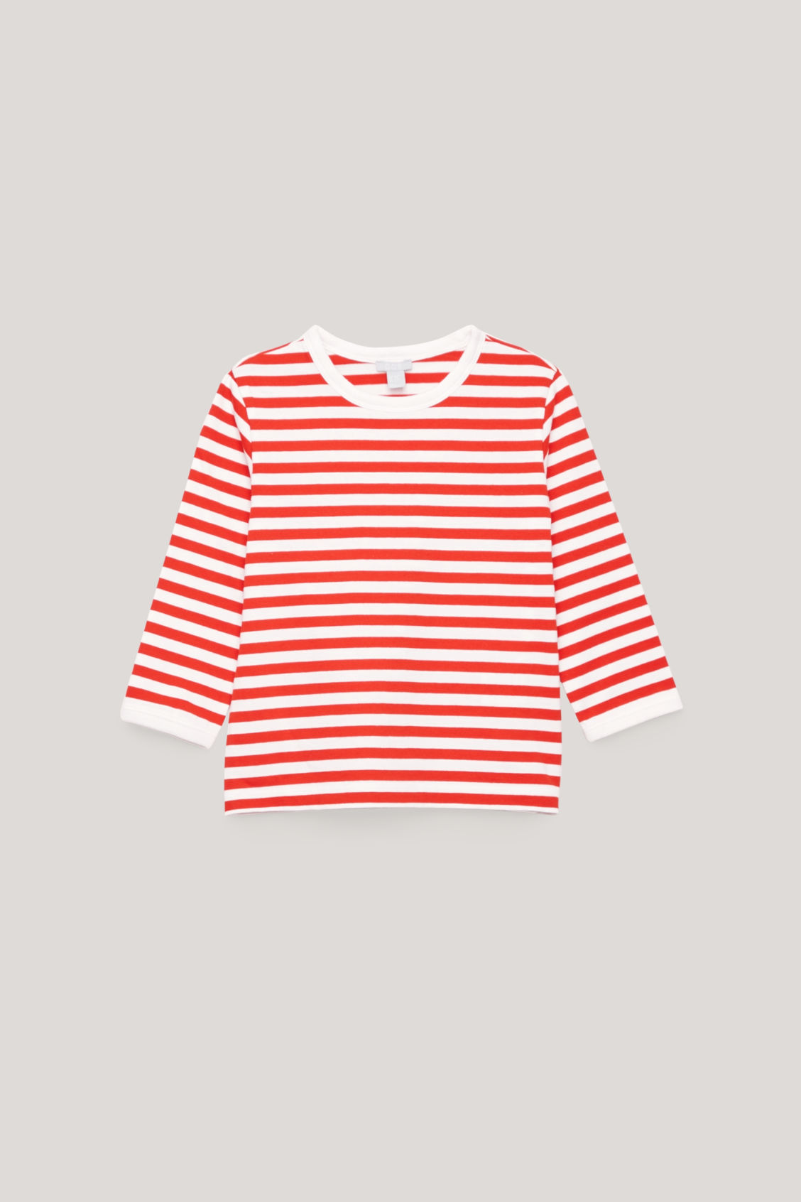 Front image of Cos striped top with elbow patches in orange
