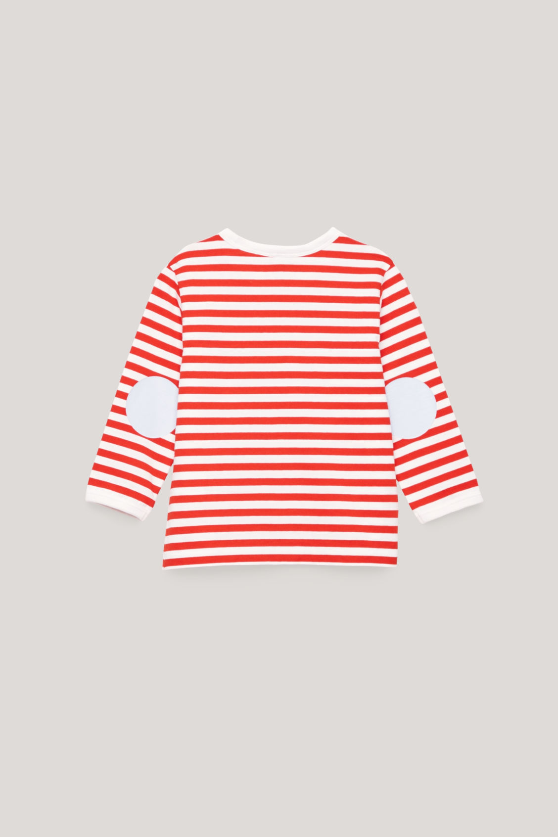 Side image of Cos striped top with elbow patches in orange