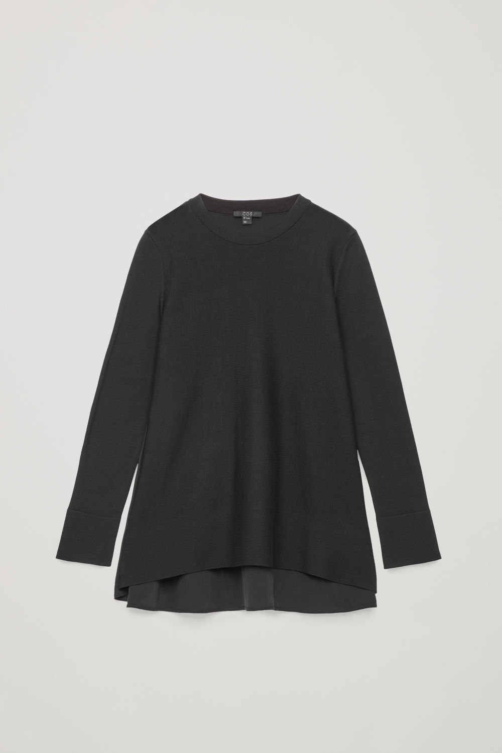 KNIT TOP WITH SILK PANEL
