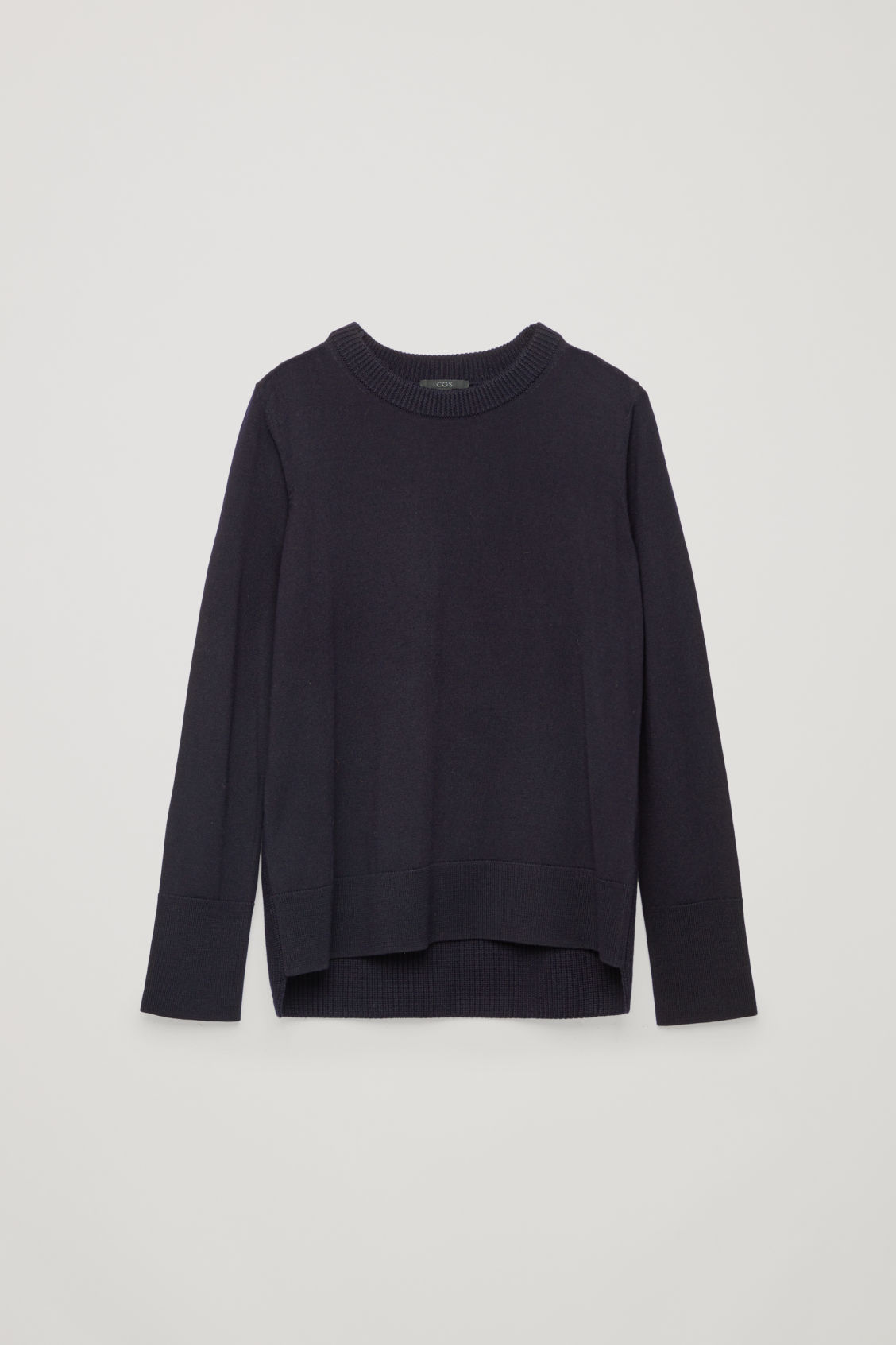 Front image of Cos mix-stitch merino jumper in blue