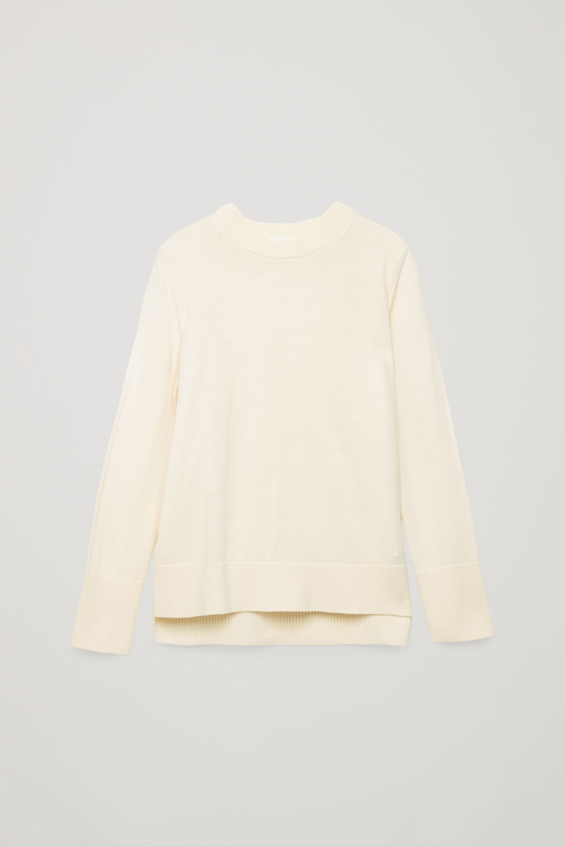 Front image of Cos mix-stitch merino jumper in white