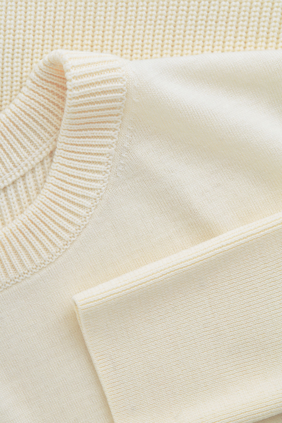 Side image of Cos mix-stitch merino jumper in white