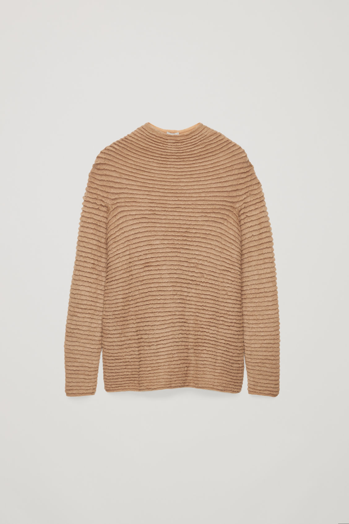 Front image of Cos ripple-stitched wool jumper  in beige