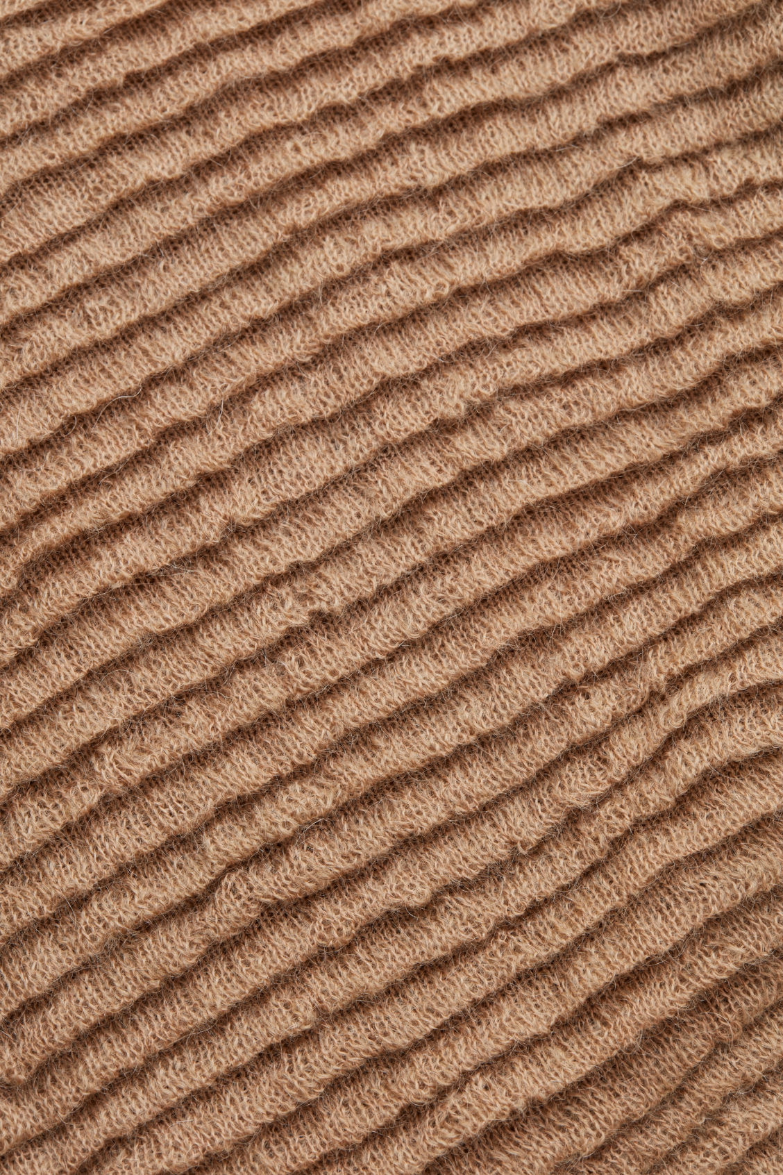 Side image of Cos ripple-stitched wool jumper  in beige