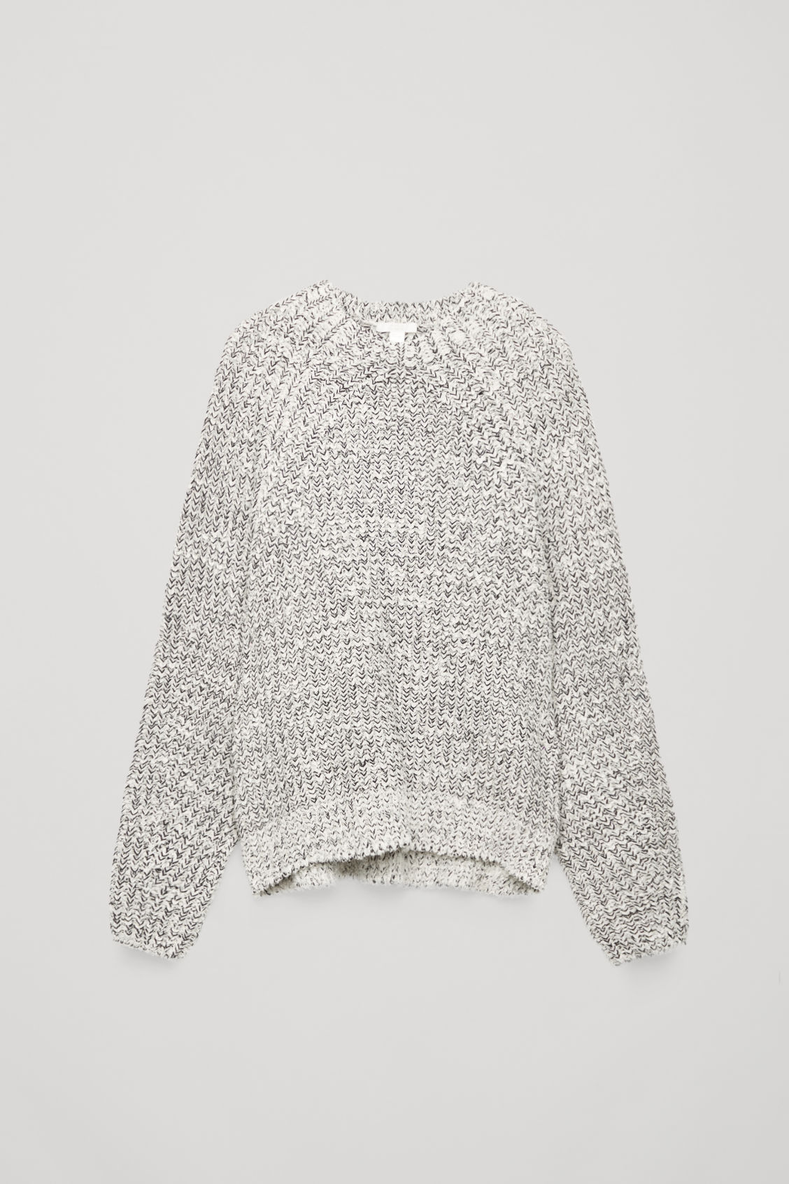 Front image of Cos half cardigan knit jumper in white