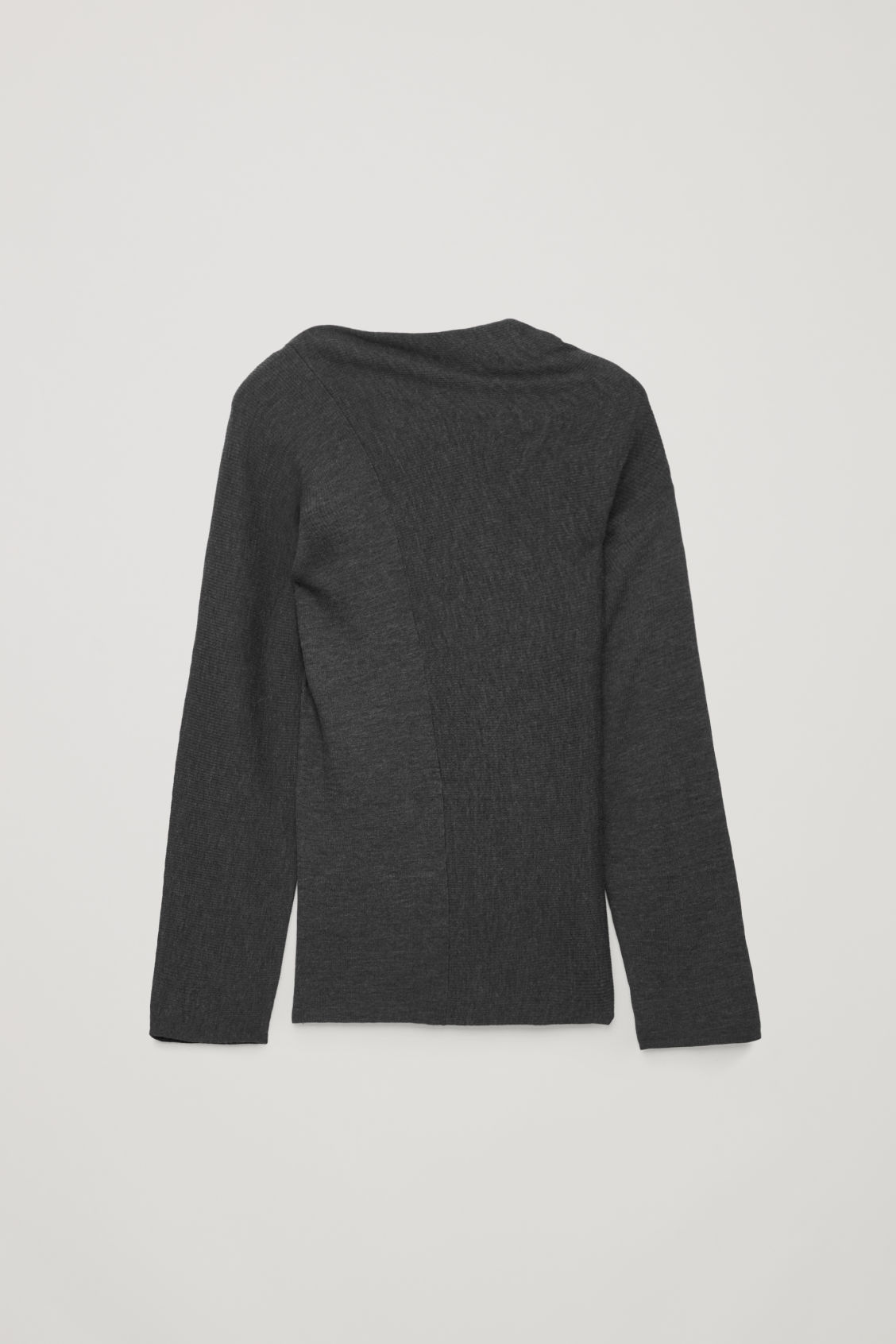 Front image of Cos draped-neck merino jumper in grey