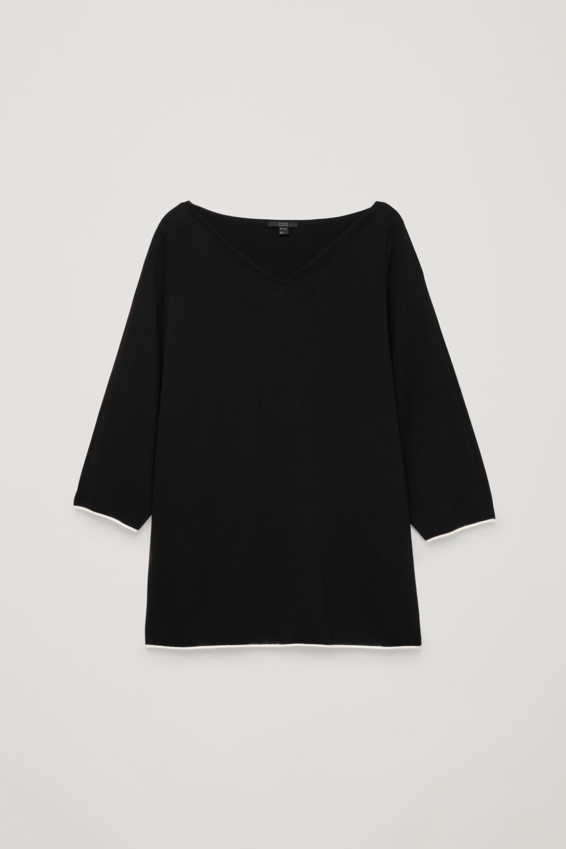 Front image of Cos trimmed v-neck knitted top in black