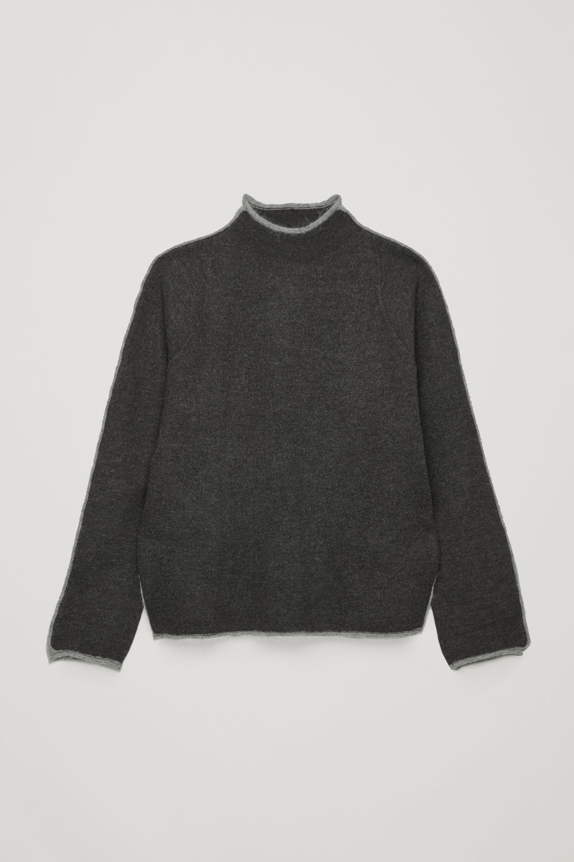 Front image of Cos trimmed boiled-wool jumper  in grey
