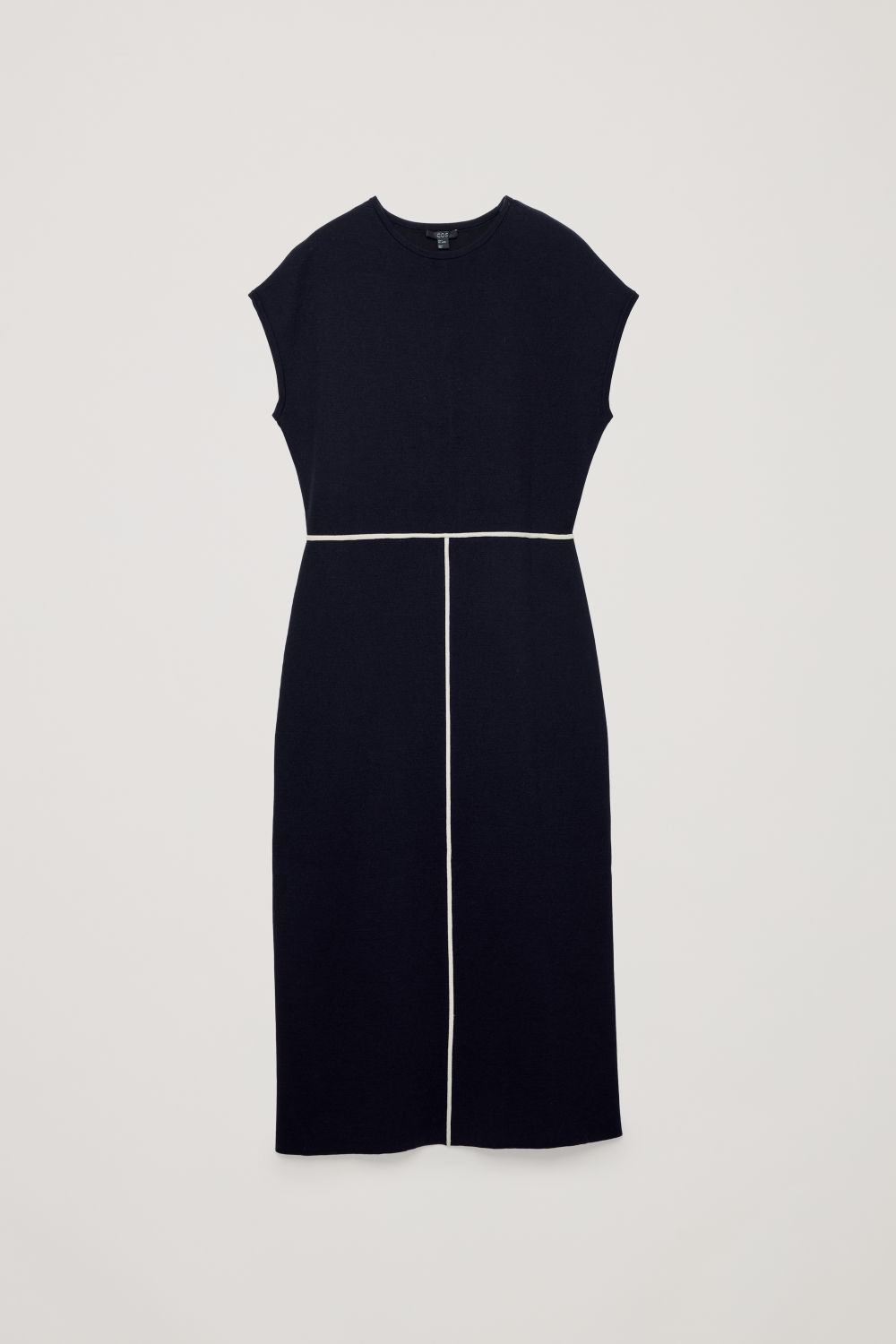 CONTRAST-TRIM MERINO-KNIT DRESS