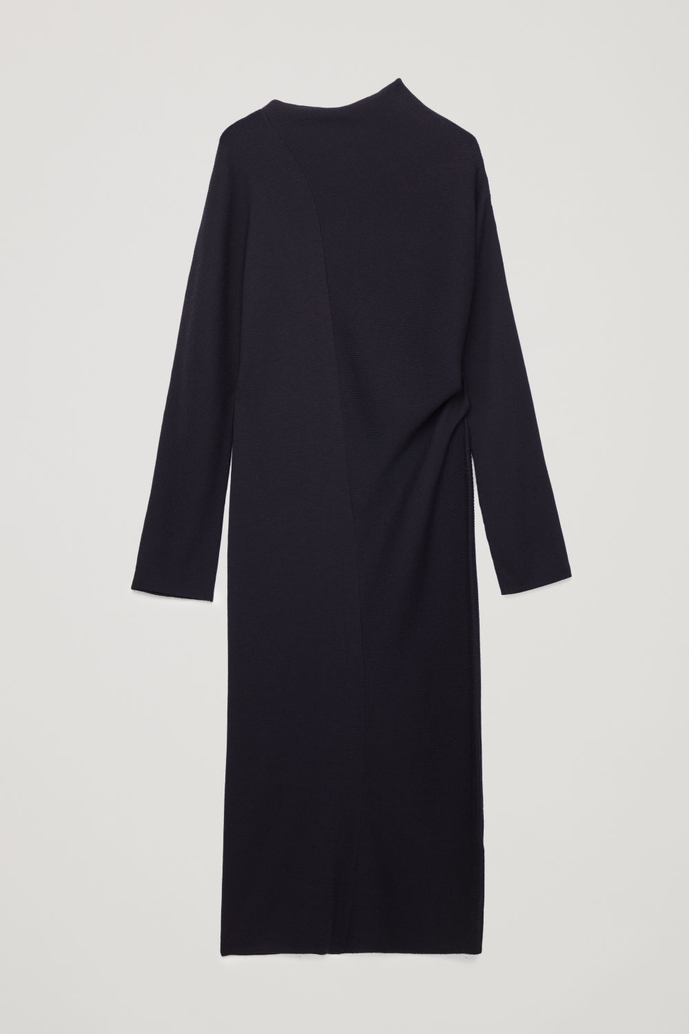 DRAPED-NECK RIBBED WOOL DRESS