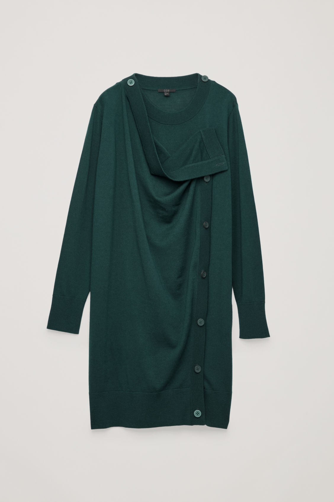 Front image of Cos button-up merino wool dress in green